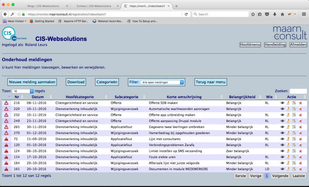 Het ticketsysteem uit de Maarn Consult Monitor